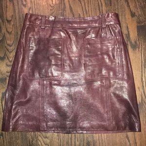 Far maroon leather Club Monaco mini skirt